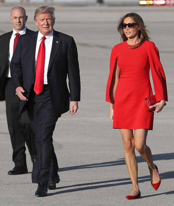 04ed756920a Melania Trump DAZZLES in a scarlet red dress at Florida rally ...
