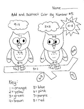 Add & Subtract Color By Number Math, School and Teacher