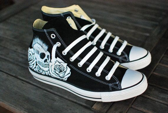389b1361377646 Rocker Skull and Roses Hi Top Converse by BStreetShoes on Etsy ...
