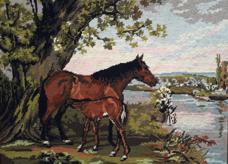 Horse with foal feeding under tree vintage hand by fleursusannah