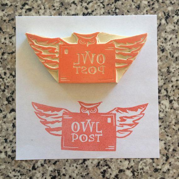 Owl Post Stamp Harry Potter Rubber Stamp Handmade Mail Stationary Harry Potter Potion Labels Owl Post Post Stamp