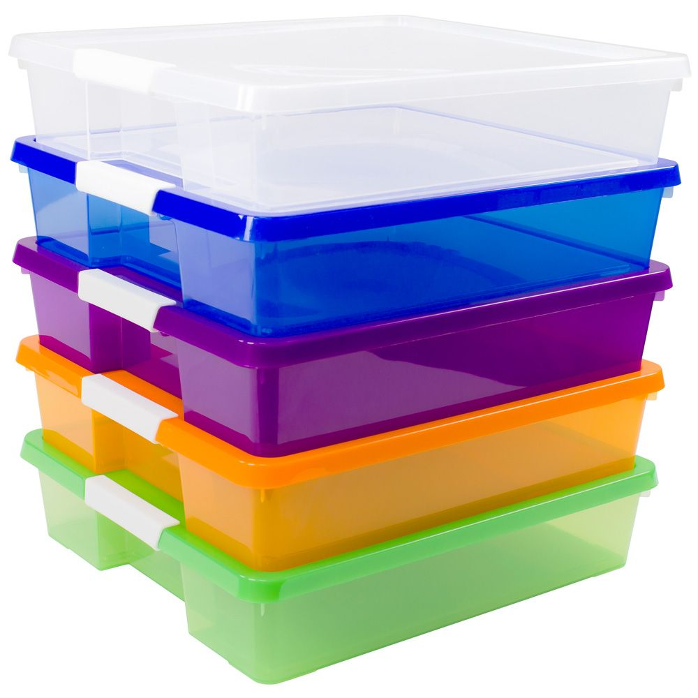 12x12 Stack Store Box Assorted Colors Set Of 5 Eai Education Plastic Crafts Scrapbook Storage Craft Box