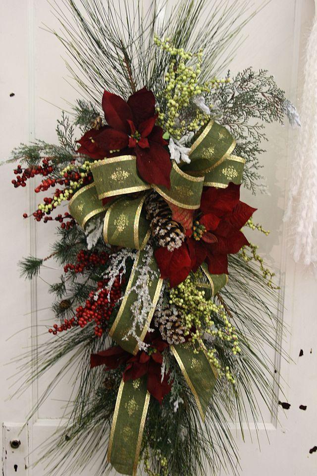 Designer Swag on door Christmas wreaths, Christmas