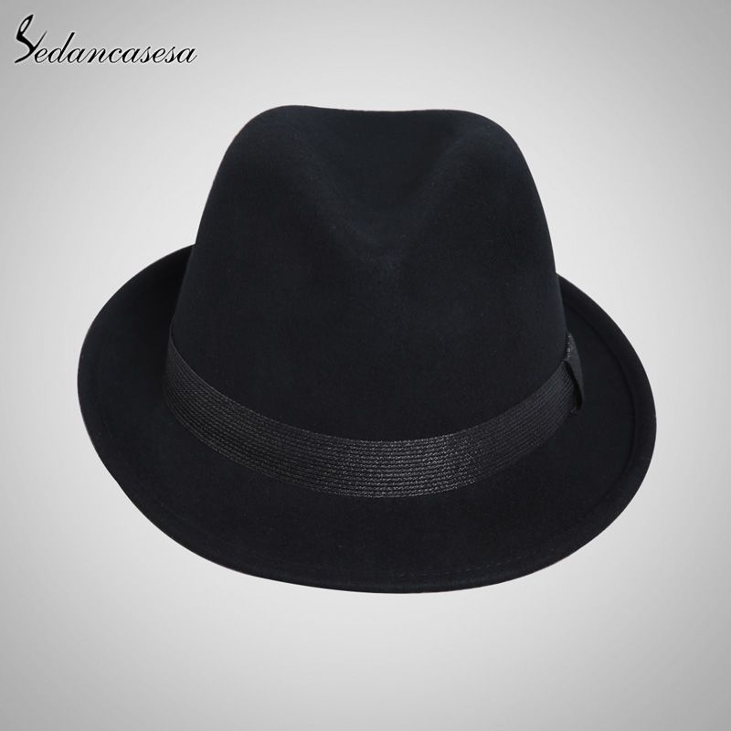 207aa438b06 England Style Christmas Fedora Jazz Hat Men Women 100% Wool Female Male  Trilby Cap Hats with ribbon Love it   shop  beauty  Woman s fashion   Products  Hat