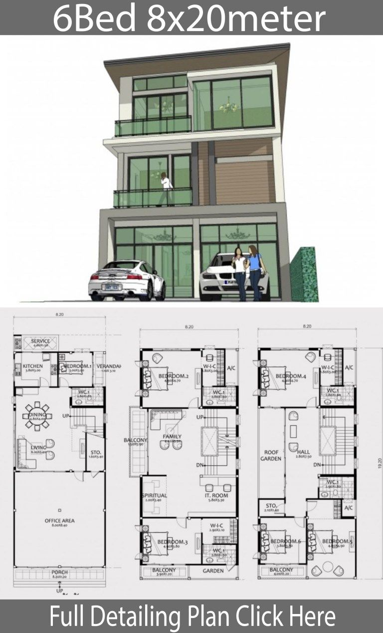 Home Design Plan 8x20m With 6 Bedrooms Home Ideas Residential Building Plan Home Building Design Home Design Plan