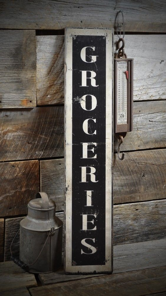 Vertical Groceries Sign Rustic Hand Made Vintage Wooden