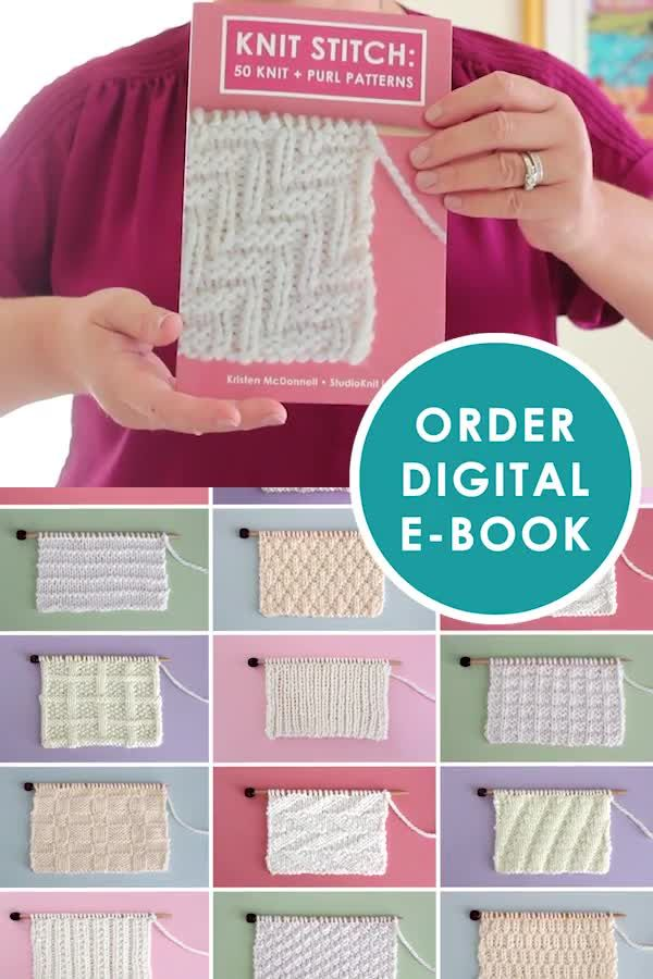 Photo of Knit Stitch Pattern E-Book for Beginning Knitters by YouTube's Studio Knit – PDF Download