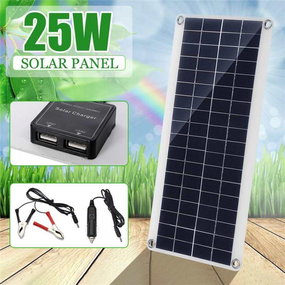 25w Solar Panel Double 12v Usb Portable Power Bank Board External Battery Charging Solar Cell Boa In 2020 Solar Panels Solar Charger Flexible Solar Panels