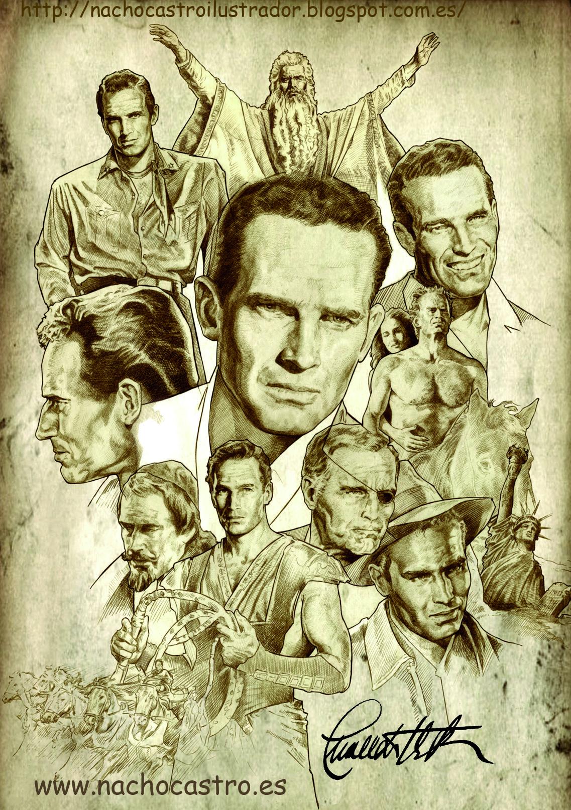 "Chalton Heston,illustration from the book ""Hombres de Hollywood"".Nacho Castro.Diábolo ediciones"