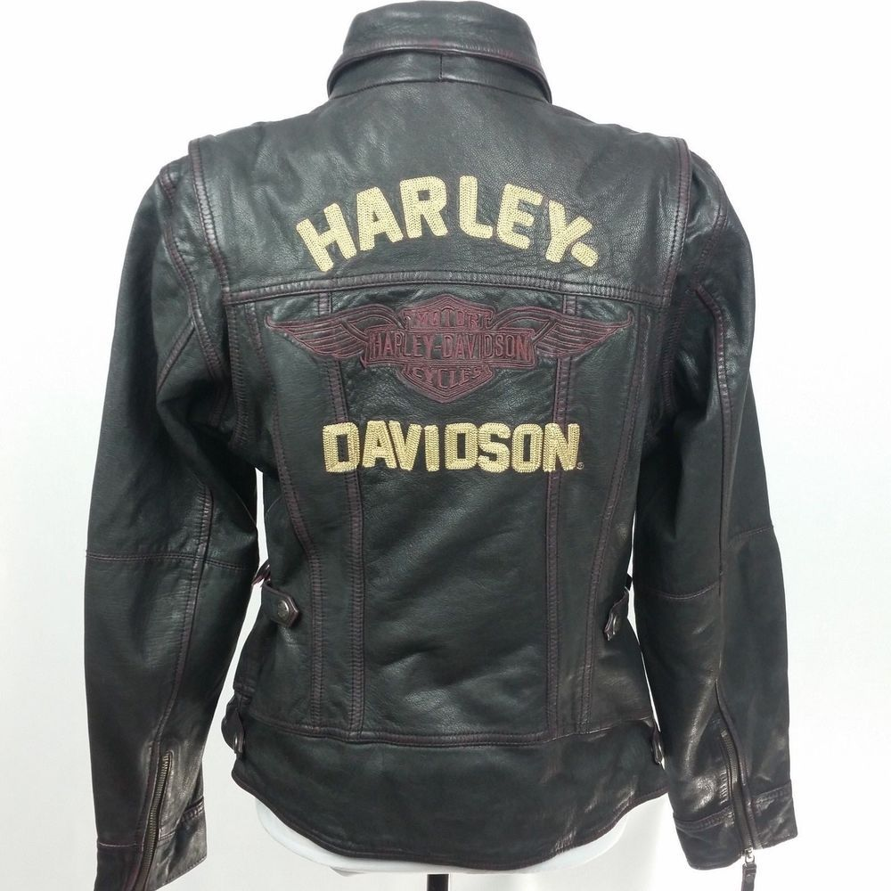 Womens Harley Leather Motorcycle Biker Jacket Black Large