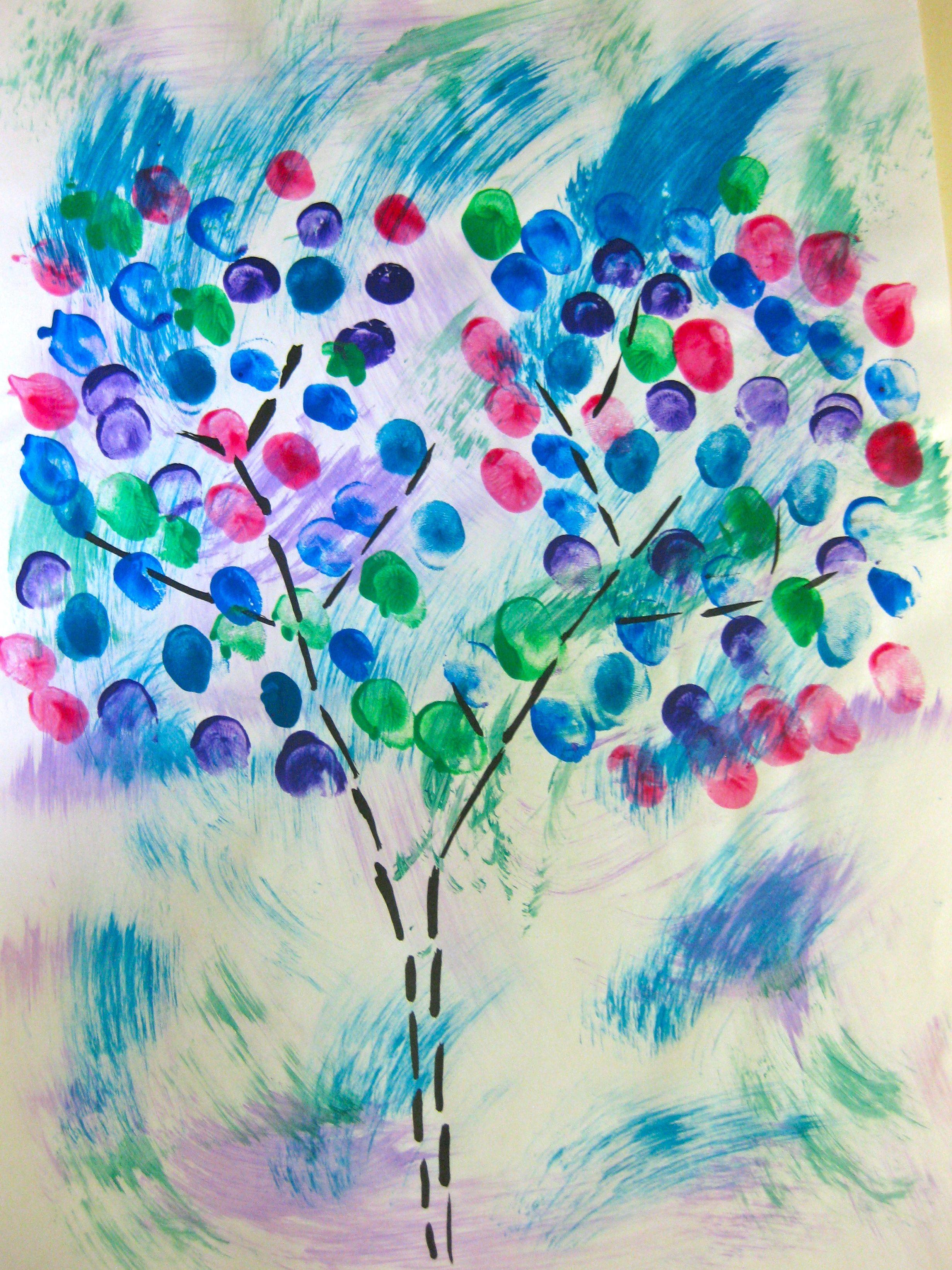 Arbre de printemps peinture au doigt springtime for Art plastique peinture