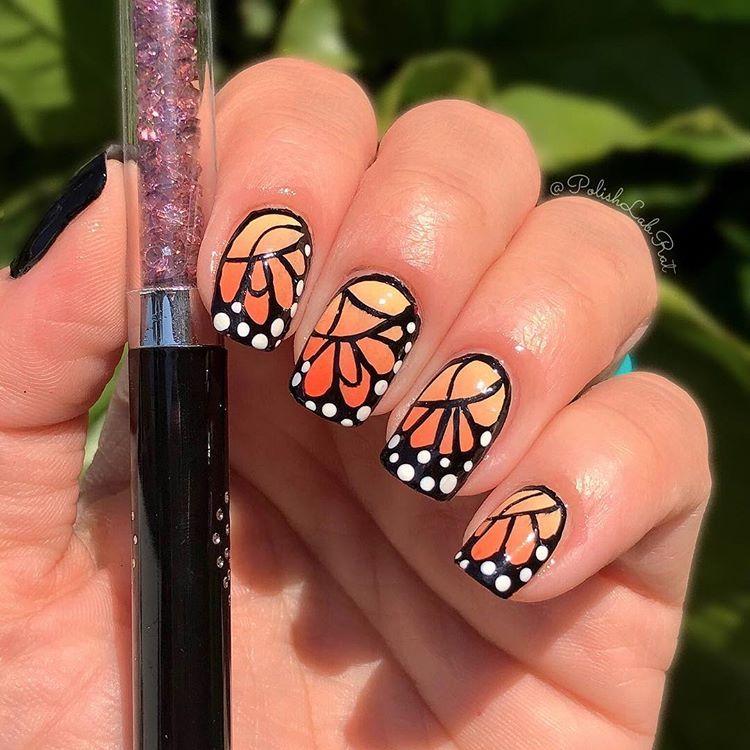 Monarch Butterfly Nails Nailartdesigns Nailartist Nailart Butterflynails Monarchnails Monarchbutterfly Butterfly Nail Monarch Butterfly Cute Nail Polish