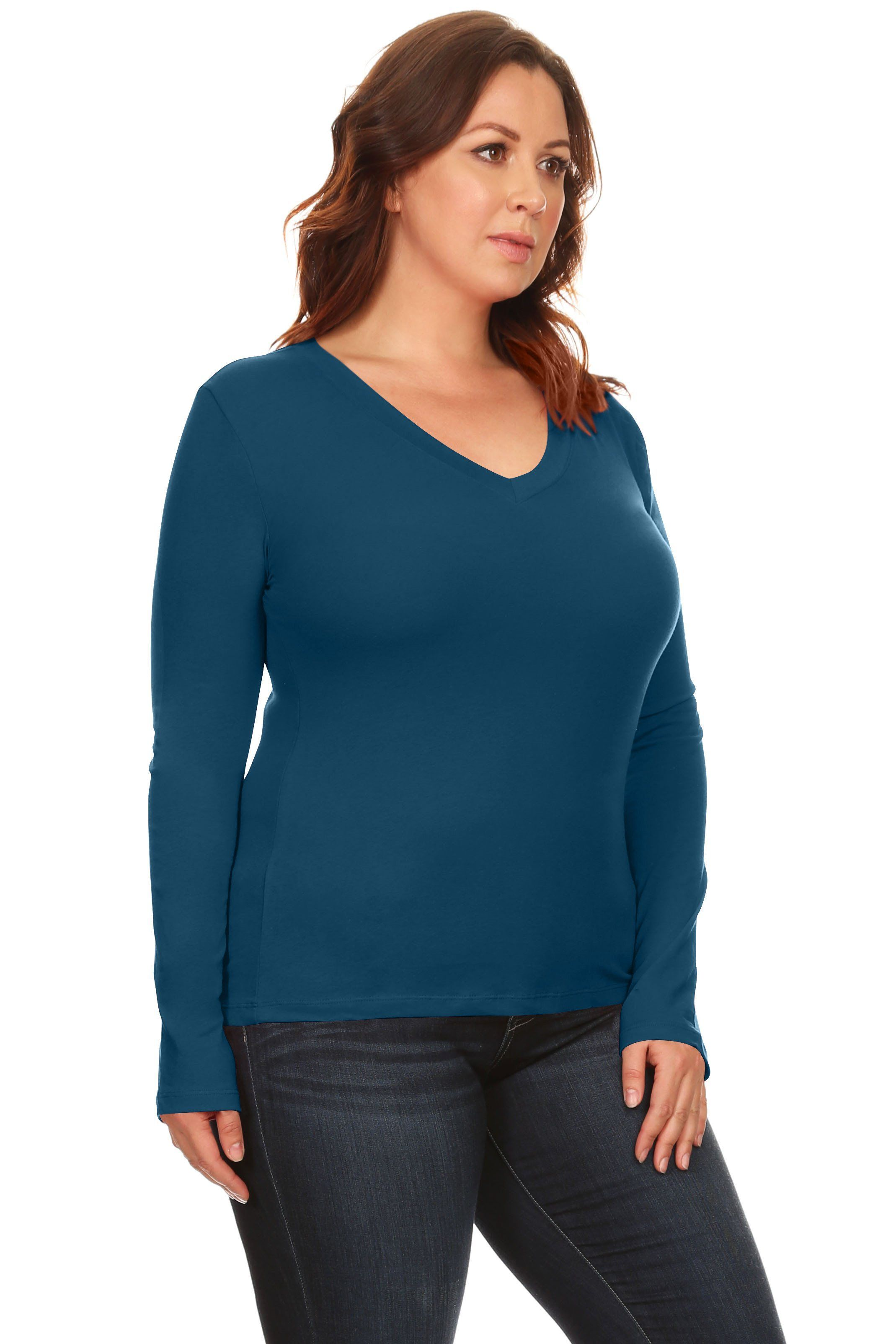 2a0518b30c5  11.99 Simlu Plus Size Sweater Long Sleeve Pullover V Neck T Shirt for Women