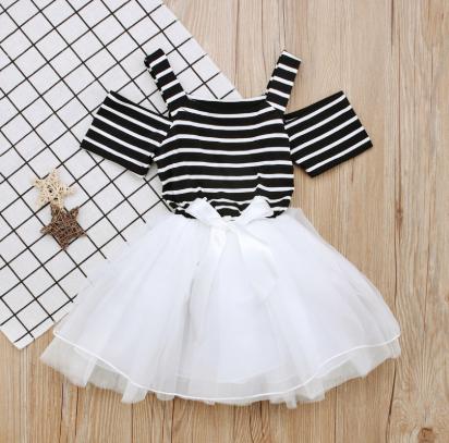 Baby Girl Clothes Kids Toddler Asymmetrical Hem Flouncing Dress Summer Party Top