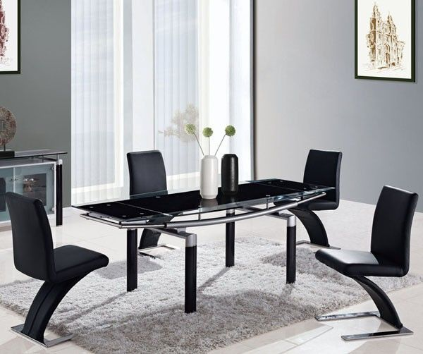 Global Furniture  5 Piece Black Glass Dining Room Set With Black Simple Glass Dining Room Table Sets Design Ideas
