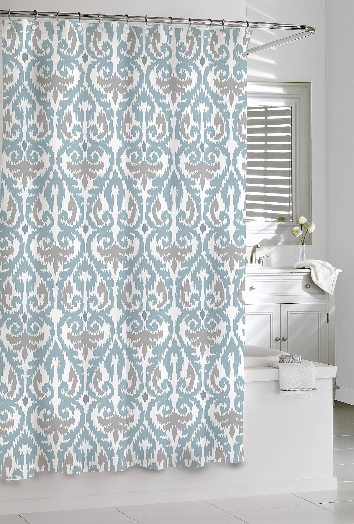 Luxury Shower Curtains Scrolled Ikat Shower Curtain By Kassatex