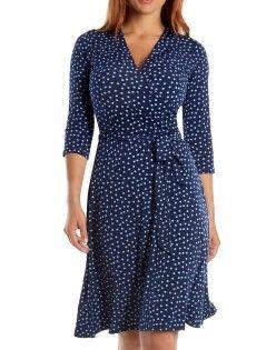 Tabitha Confetti | Long Sleeve Navy Blue Confetti Print Wrap Dress For Big Busts 1