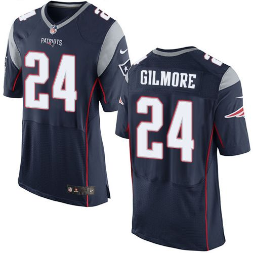 8cc613de9 Men s Nike New England Patriots  24 Stephon Gilmore Elite Navy Blue Team  Color NFL Jersey