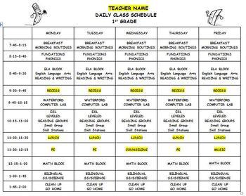 Daily Class Schedule Template Editable Class Schedule Template