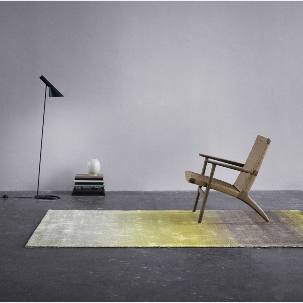 Linie Design Grace Yellow Rug In Room With Hans Wegner Ch25 Chair And Arne Jacobsen Lamp