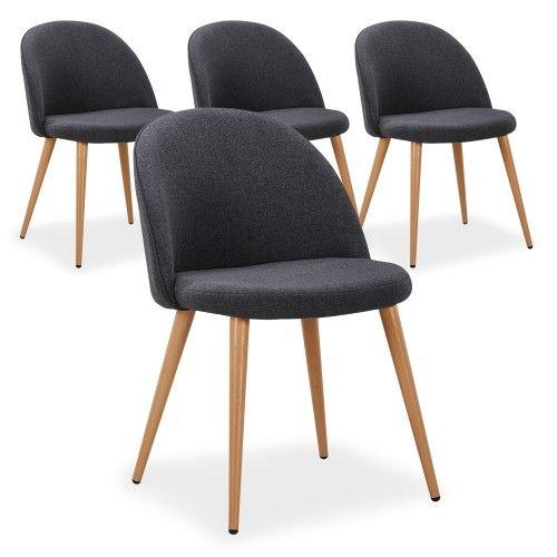 Lot de 4 chaises scandinaves Maury Gris Foncé deco