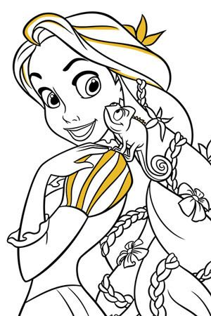Rapunzel And Pascal Colouring Page Disney Colors Coloring Pages