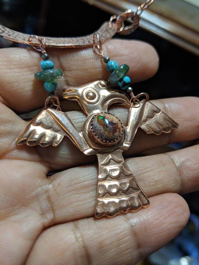 Men's Aztec Mesoamerican Eagle Pendant Necklace with Mexican Fire Opal, Copper Aztec Quetzalcoatl Bird Pendant Necklace with Turquoise #aztec