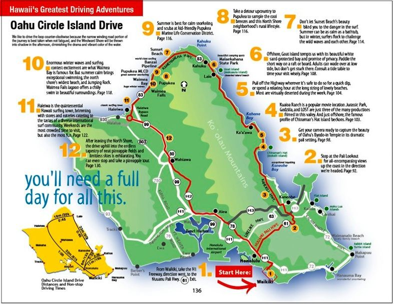 Road Map Of Oahu Hawaii Driving Map of Oahu | this is one of 5 hawaii s greatest driving