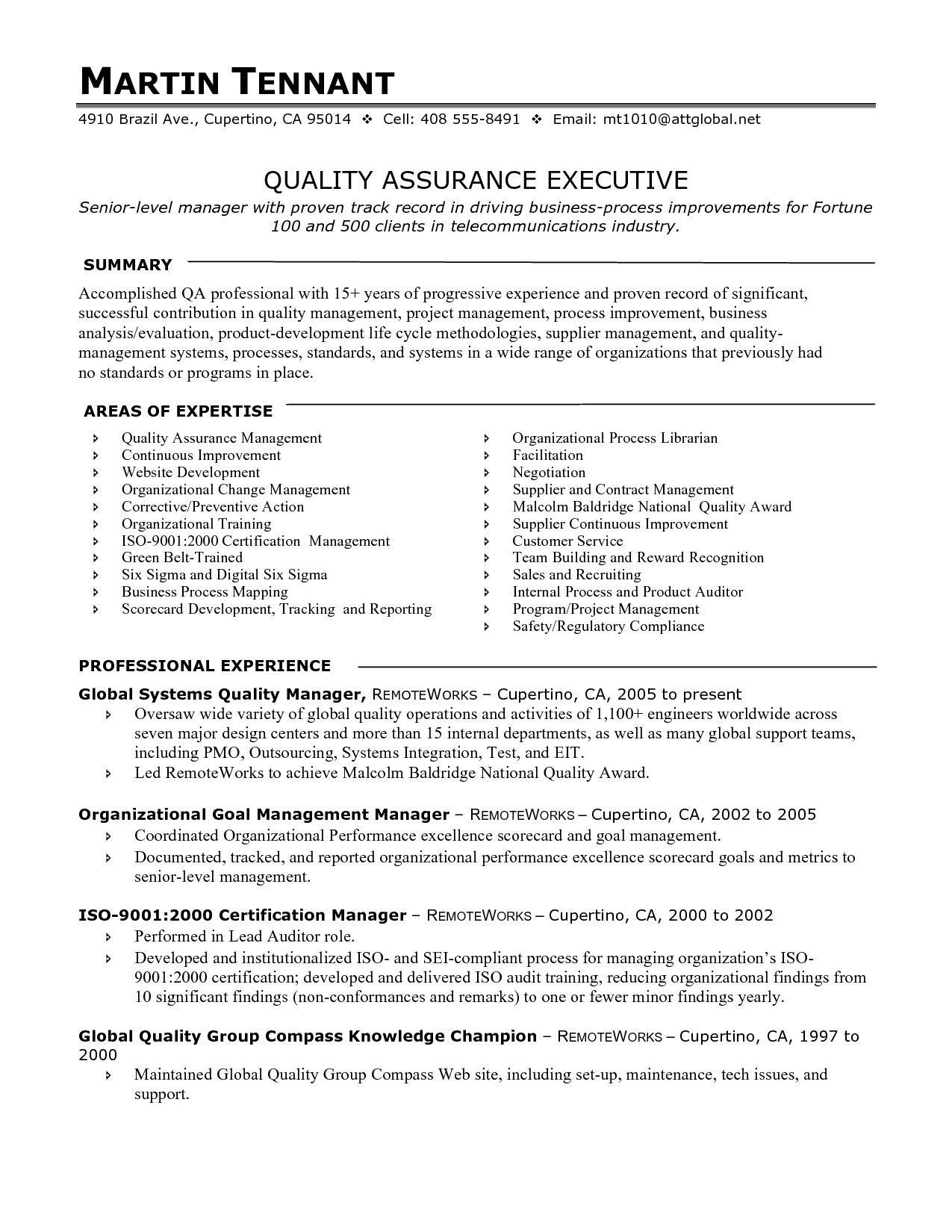 Quality Assurance Resume Examples Pinterest Sample Resume