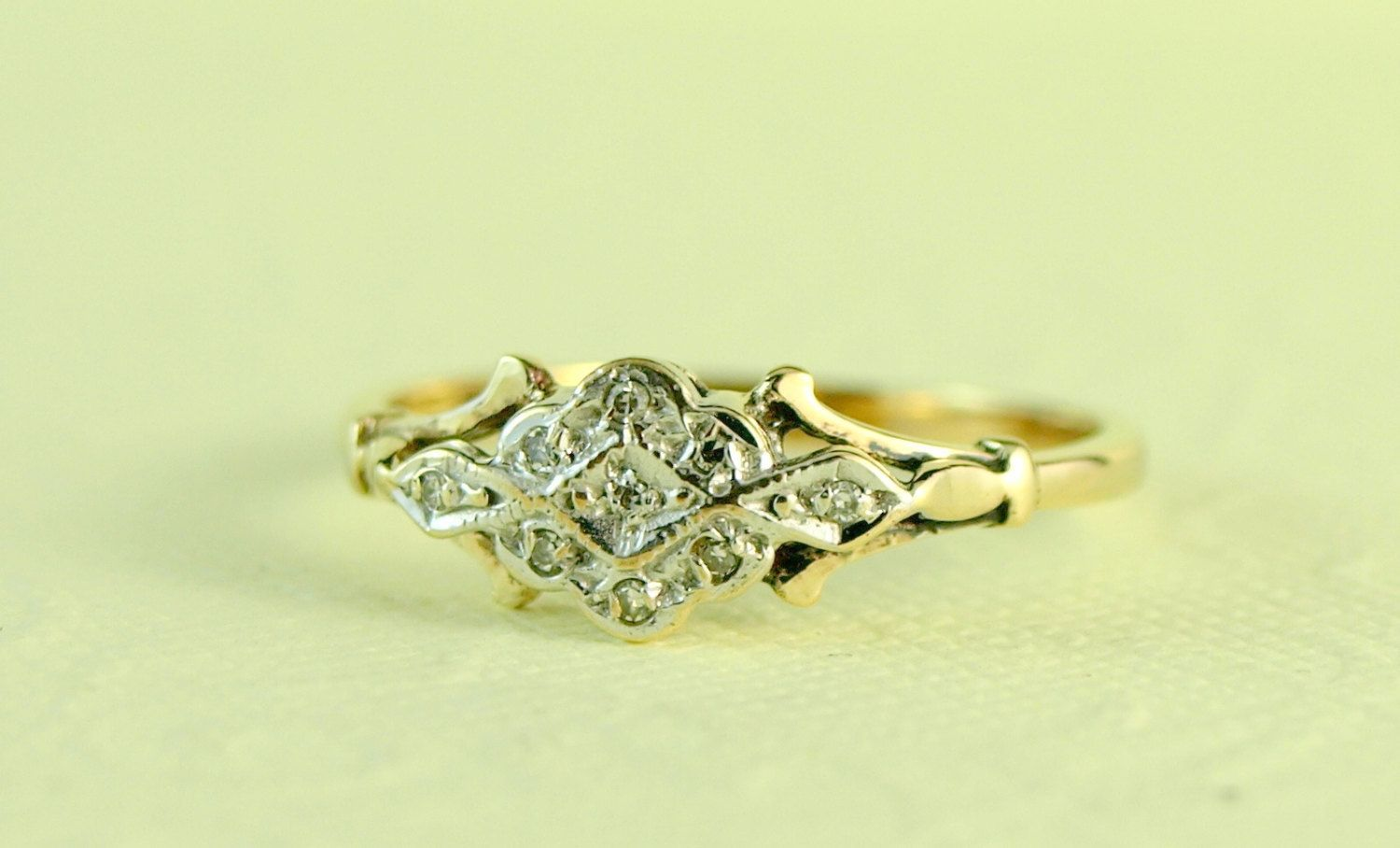 Femme 1920's Diamond and 9ct White and Yellow Gold Engagement Ring, Art Deco