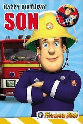 Fireman Sam Happy Birthday Son Birthday Card Badge New Gift Cards Stationery Celebrations Occ Birthday Cards For Son Happy Birthday Son Sons Birthday