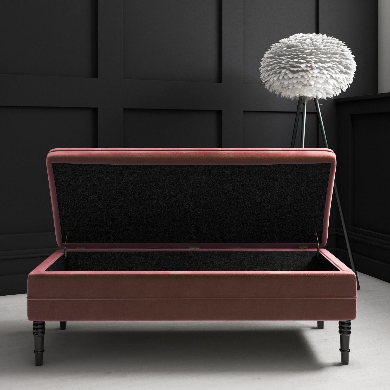 Safina Ottoman Storage Bench In Blush Pink Velvet With On Detail Saf051