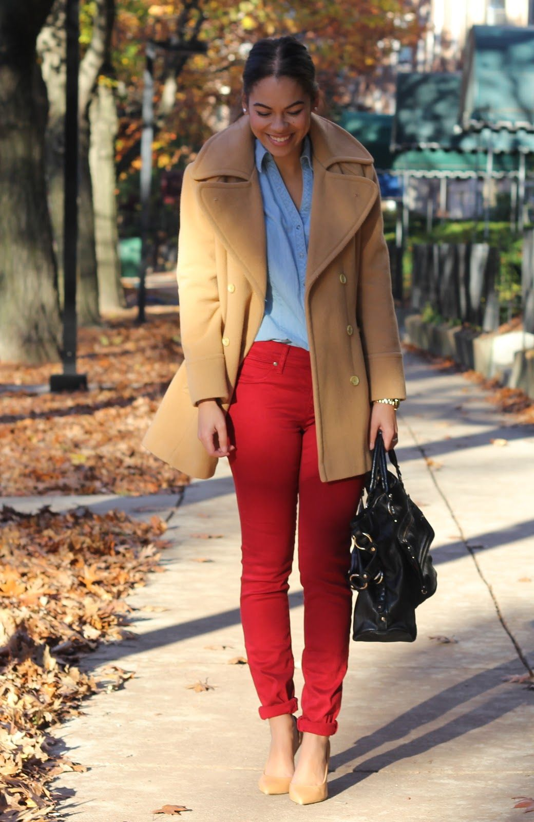9654efbca37 A Little Bit of Lacquer  Camel Coat and Red Pants