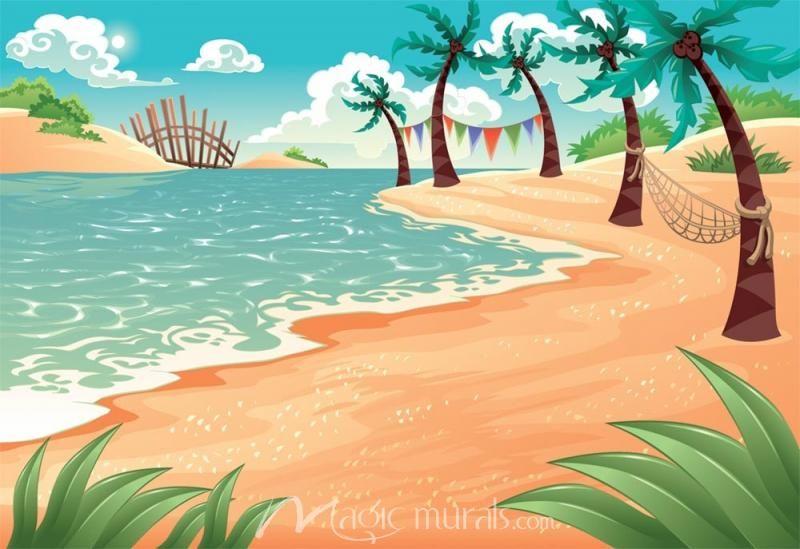 Hammock Near The Sea Beach Background Beach Cartoon Beach Illustration