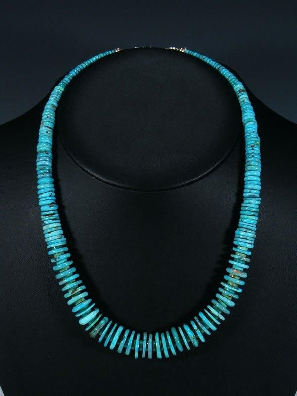 Native American Indian Jewelry Graduated Turquoise Necklace