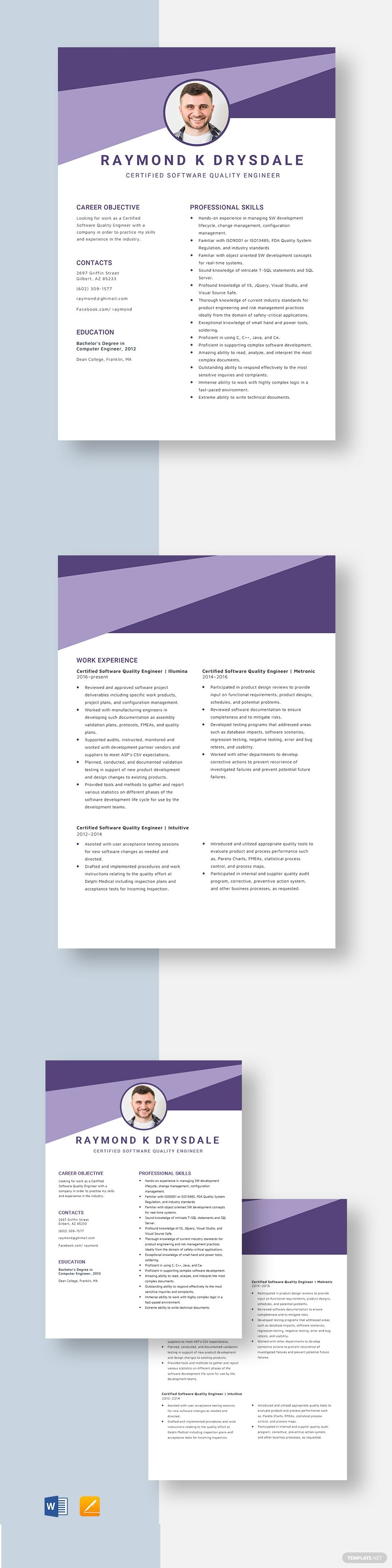 Certified software quality engineer resume template in
