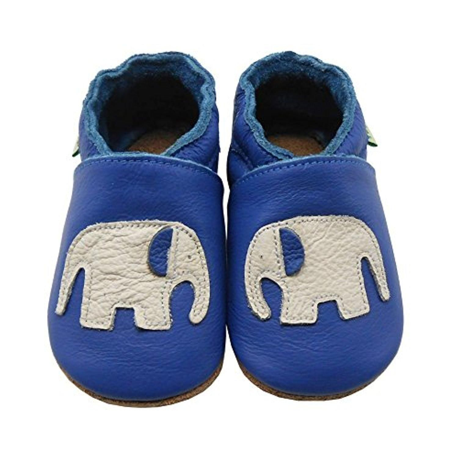 Sayoyo Soft Sole Leather Baby Shoes Baby Moccasins Elephant Blue 6