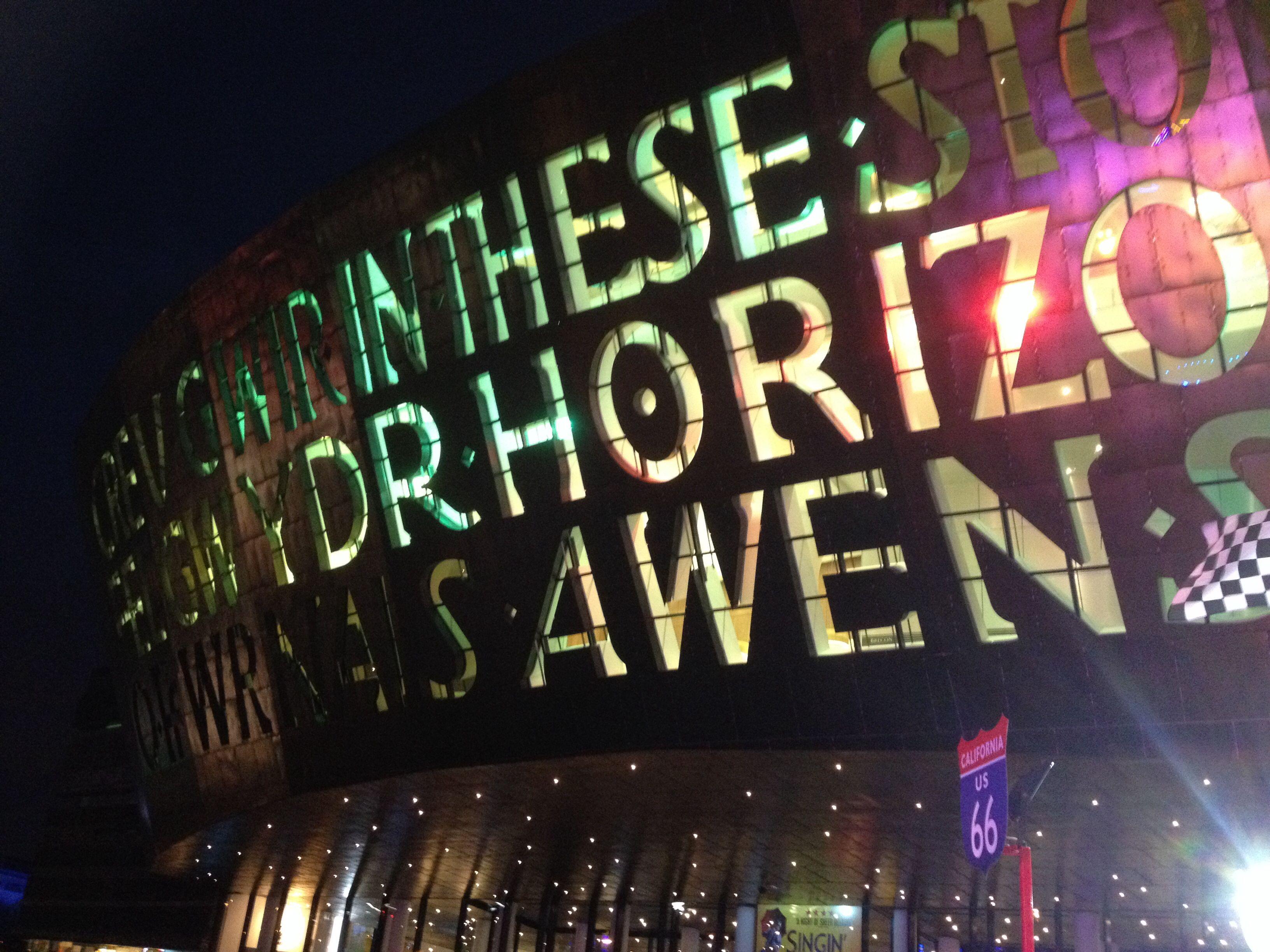 Wales Millennium Centre at night in Cardiff Bay www.callofthewild.uk