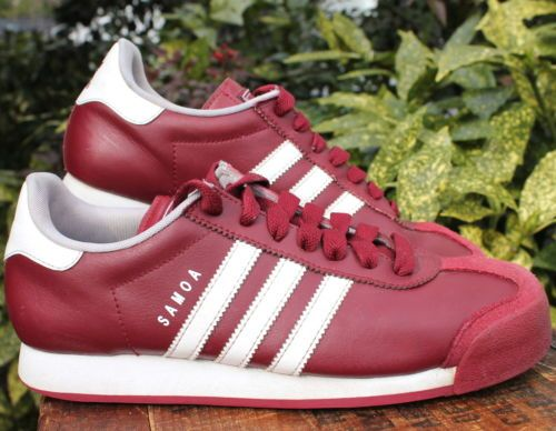 Adidas Samoa Leather Maroon White Stripes Tennis Shoe Men size 8