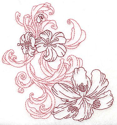 Lily Flower Trio Redwork Outline Machine Embroidery Design Or