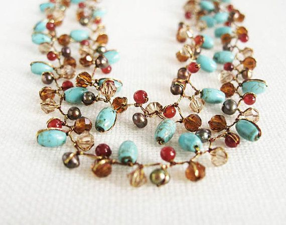 Delicate Turquoise Amber and Bead Necklace by Ubonin on Etsy, $35.00