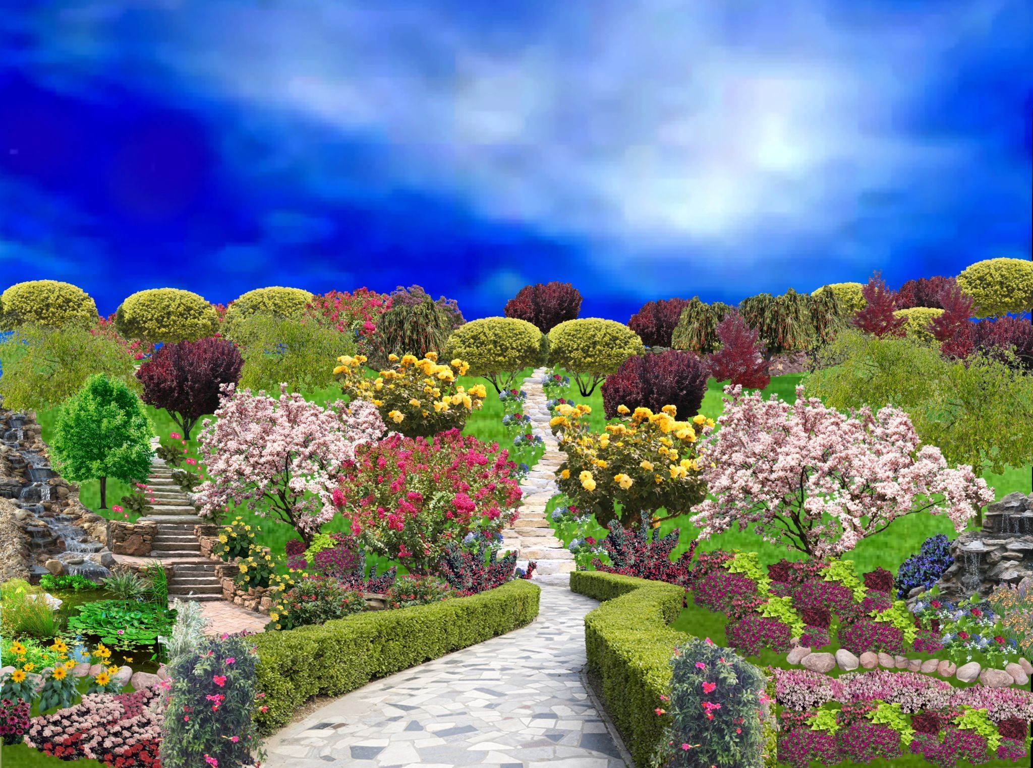 Garden using iScape | Landscape design, Beautiful gardens ...