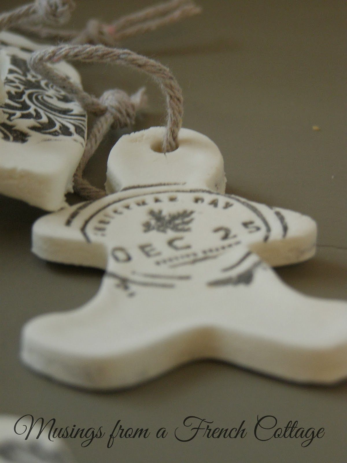 Musings From A French Cottage Clay Christmas Ornaments Or Gift Tags Christmas Ornaments To Make Christmas Ornaments Clay Christmas Decorations