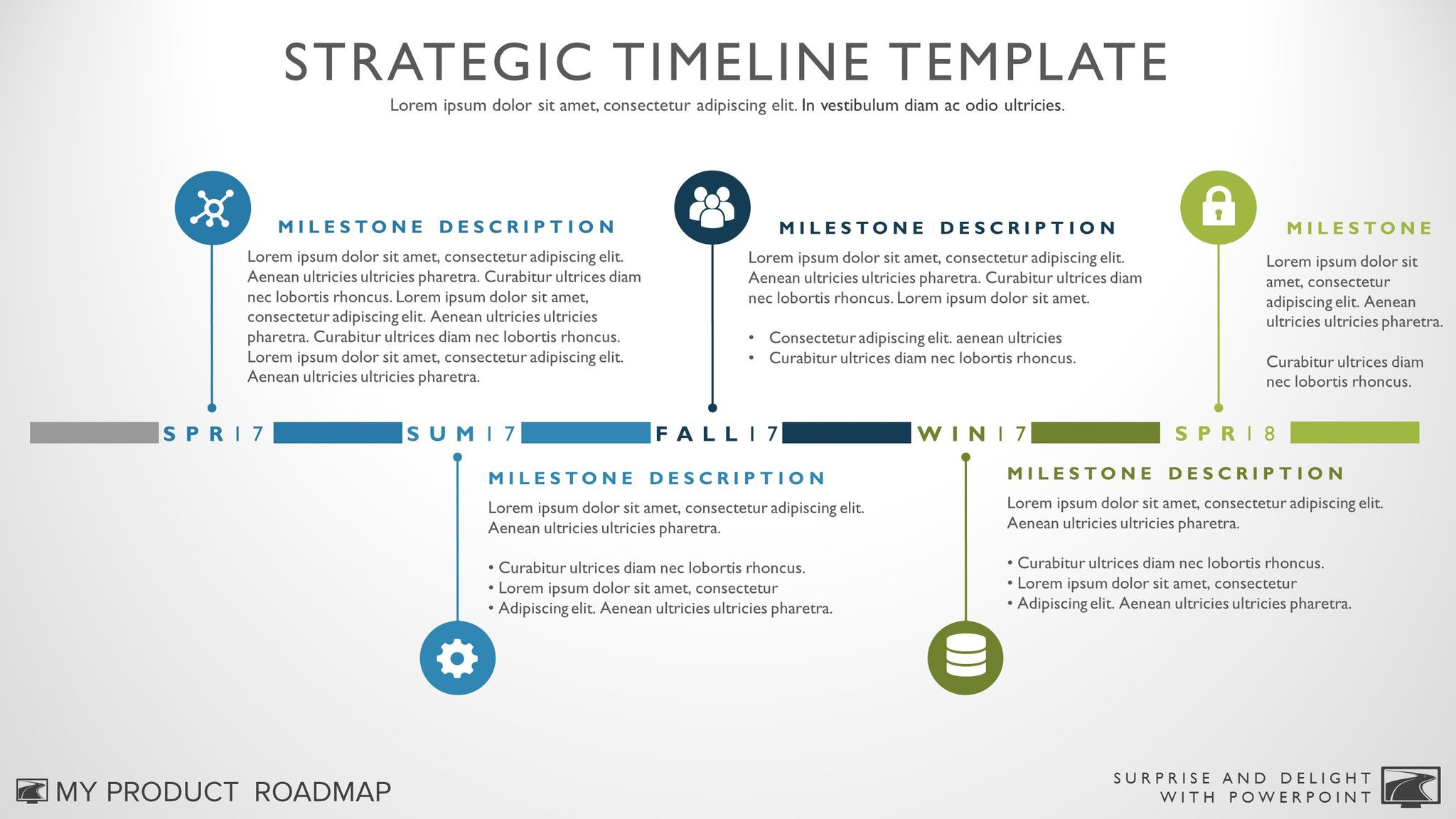 Seven Phase IT Timeline Roadmapping PowerPoint Template Six Phase - Roadmap timeline template ppt