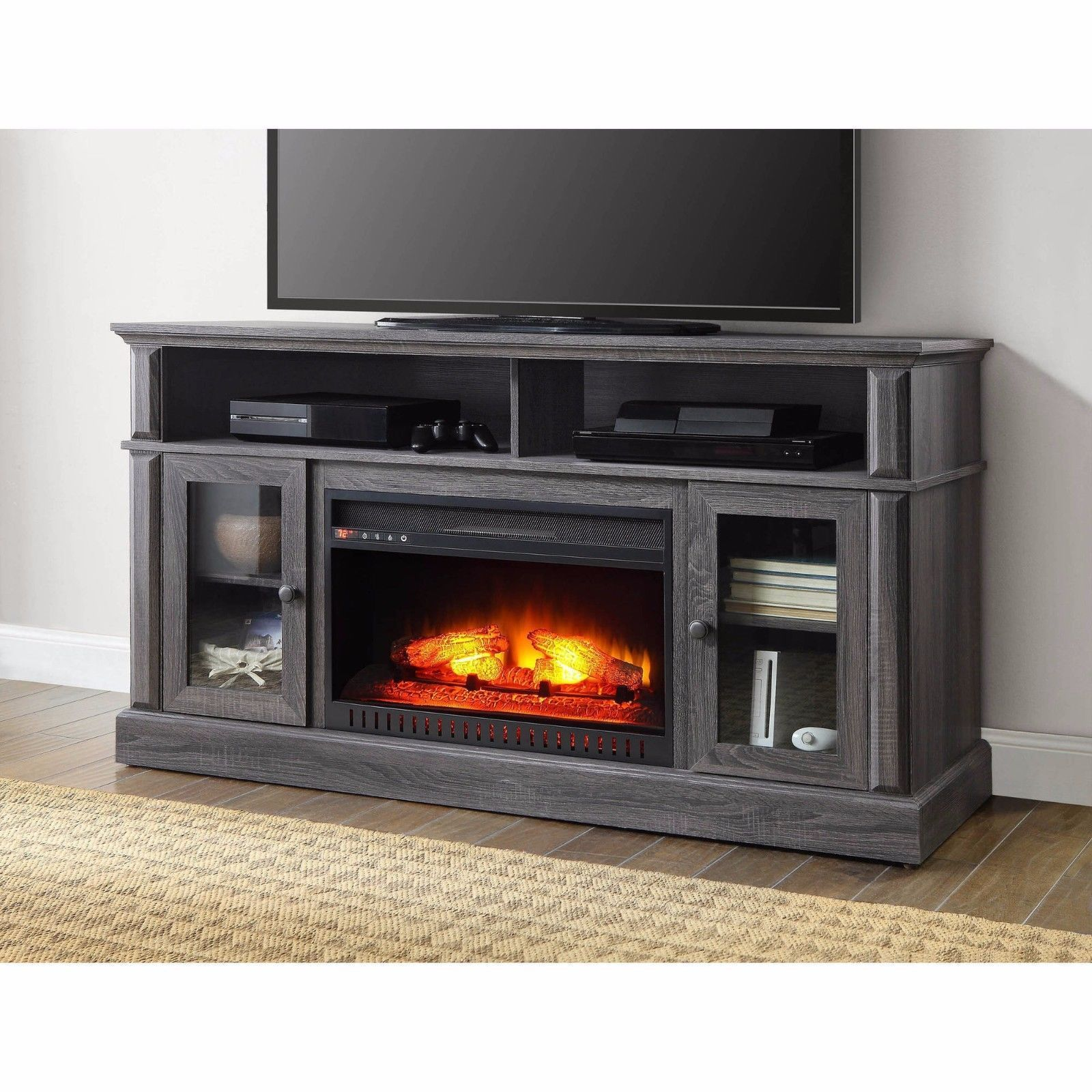 electric fireplace heater gray media cabinet 70 tv stand