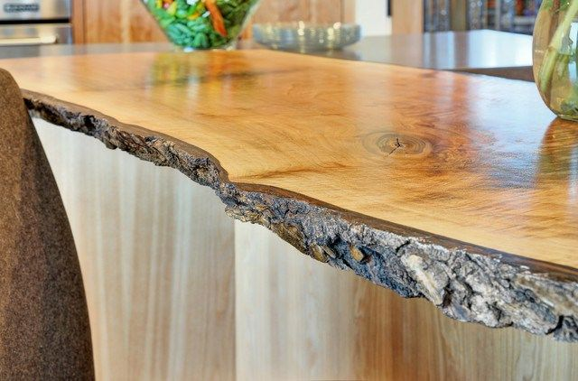 Live Wood Edge Island Top Contemporary Kitchen San Francisco