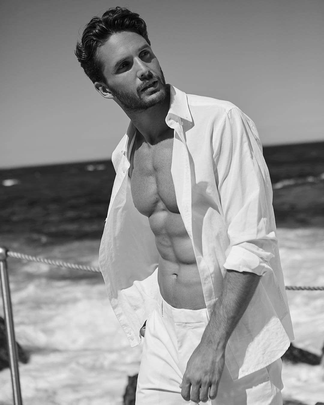 Dejan obradovic male model shirtless black white photography by melinda cartmer