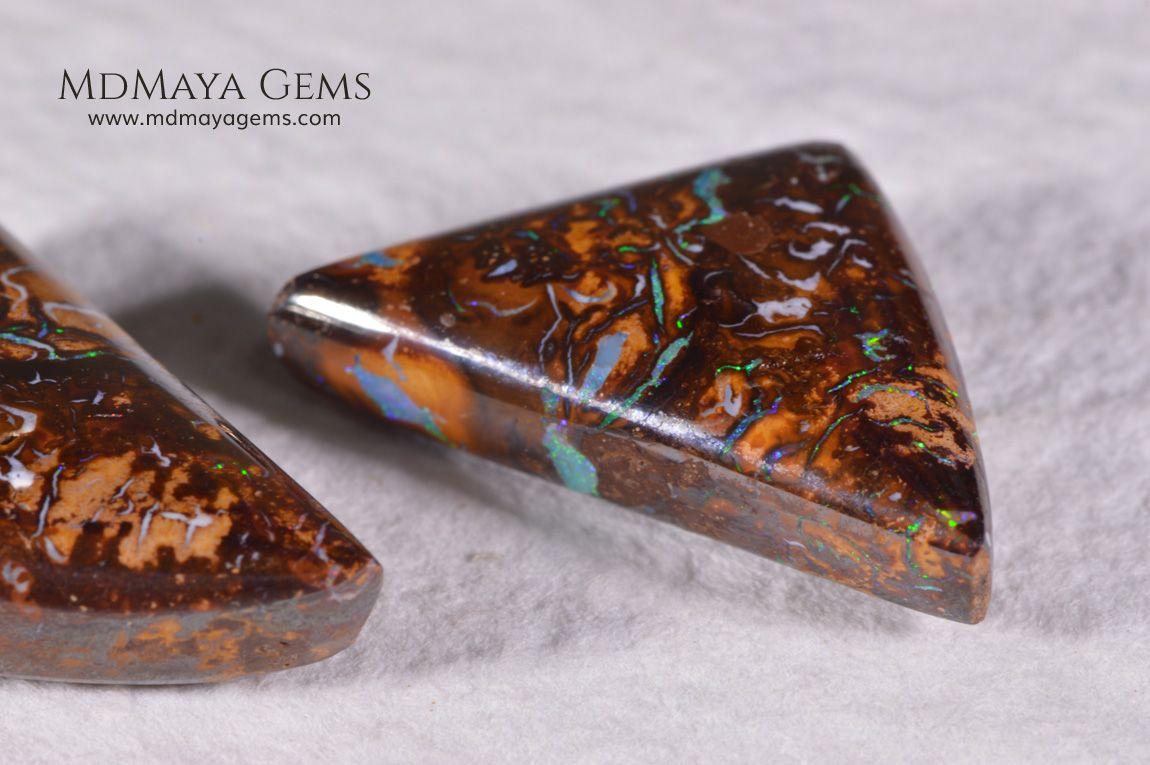 Australian Boulder Opal Pair 20.98 ct Opal, Sapphire