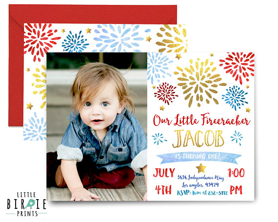 4th Of July Invitation Birthday Party First Little Firec