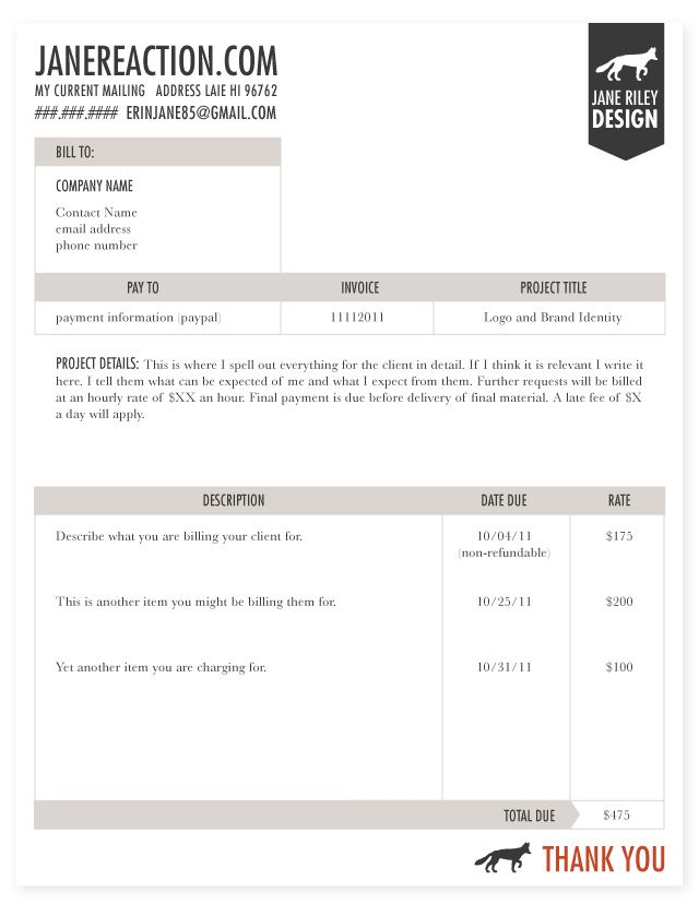 invoice example biz room Pinterest Invoice example - graphic design invoice sample